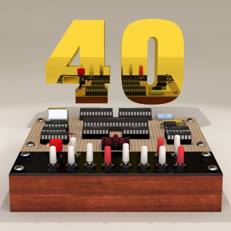 "Illustration of a COSMAC ELF computer with a golden number ""40"" above it."